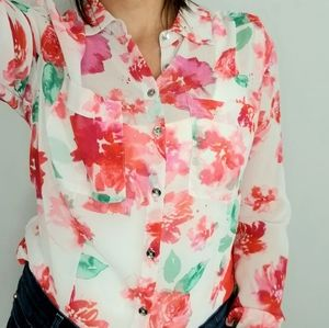 Guess Abstract Floral Print Button Down Blouse Top